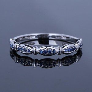 10K White Gold Sapphire Band Ring size 5.5